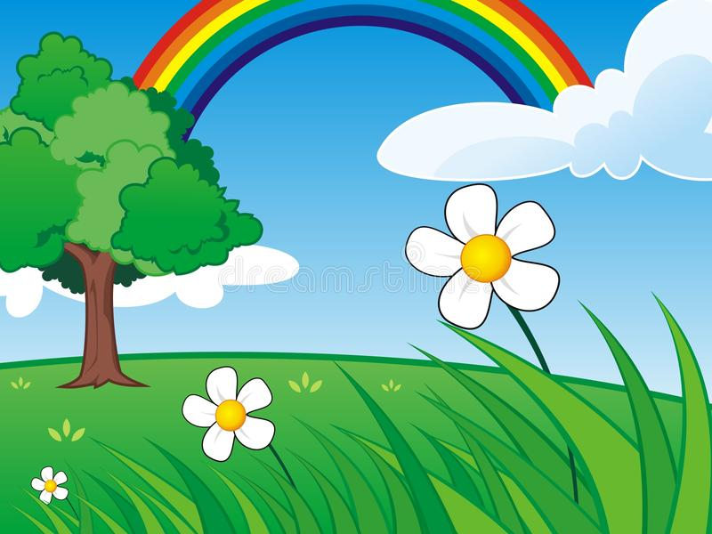 Grass Scene with Clear Sky and Rainbow vector illustration