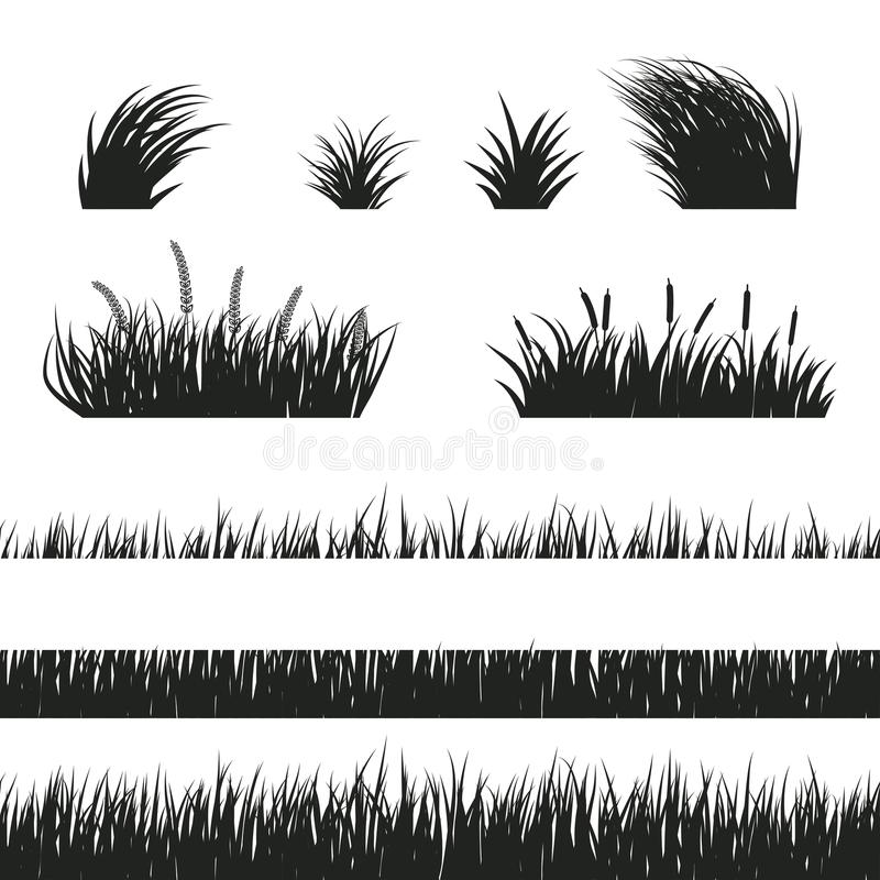 Grass seamless black and white vector illustration