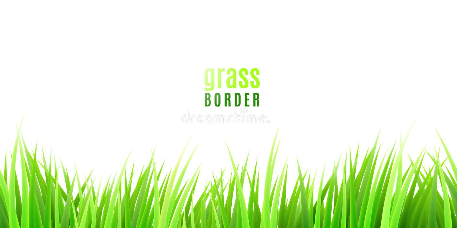Grass seamless border with fresh green tufts isolated on white background royalty free illustration