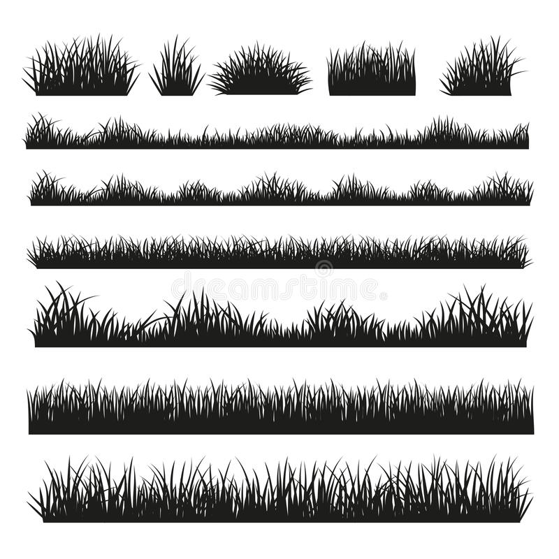 Grass silhouette borders set on background royalty free stock photo