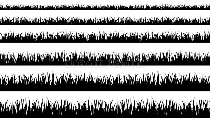 Seamless grass silhouette lines stock illustration