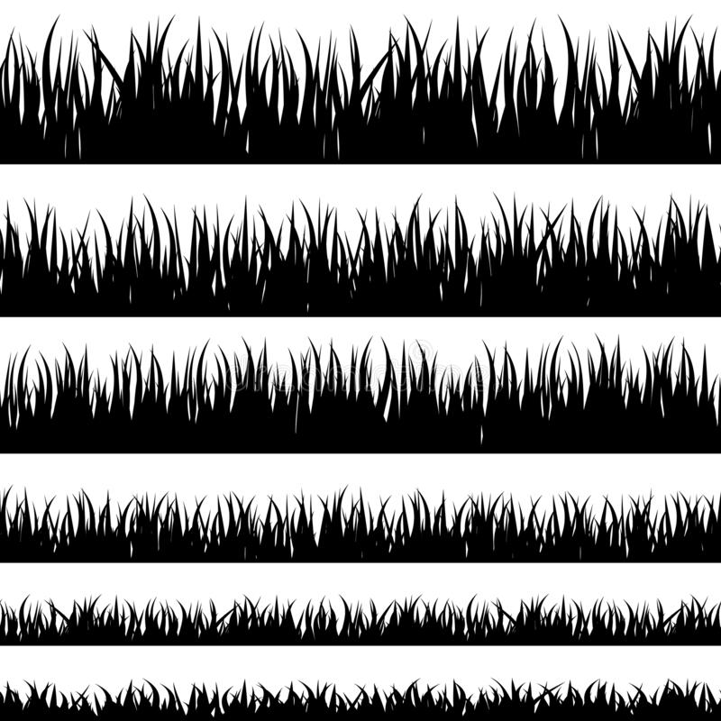 Grass black silhouette. Grass silhouette. Turf coating banners for edging and overlays royalty free illustration