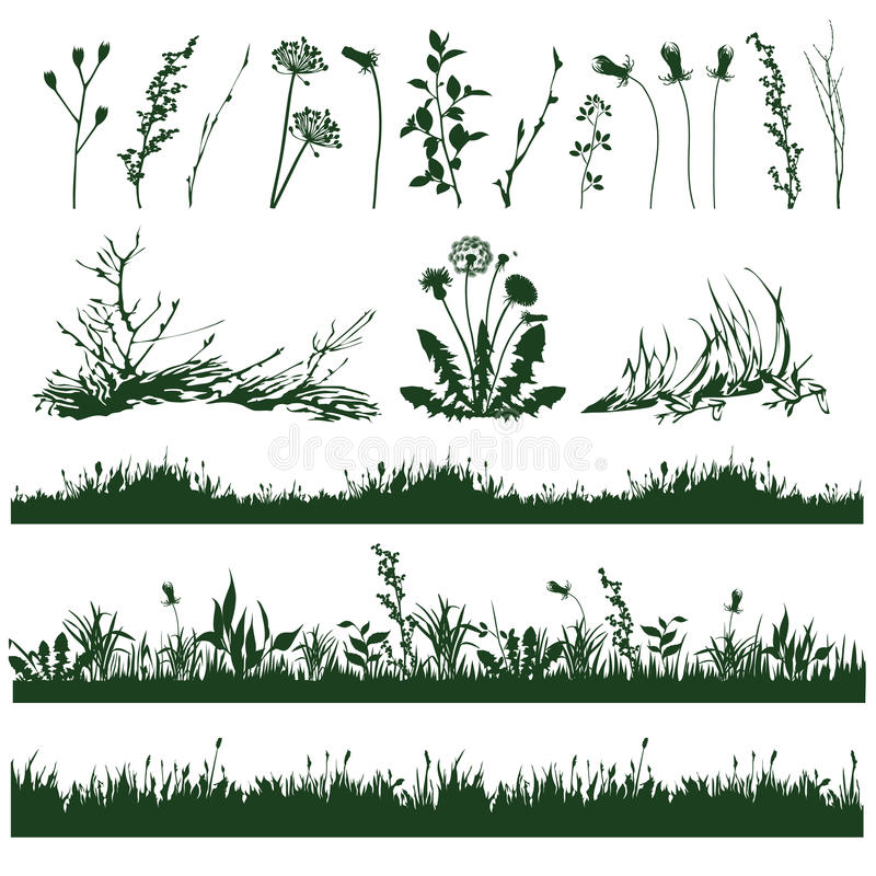 Grass. Silhouettes of decorative elements of grass and twigs vector illustration