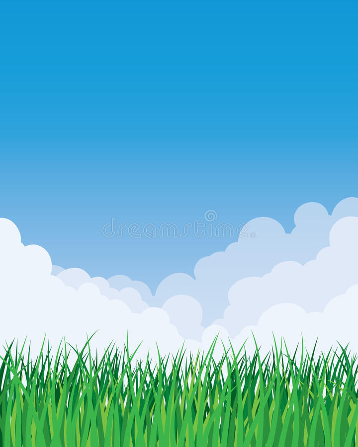 Grass and Sky Background. An illustration of a grass and sky background