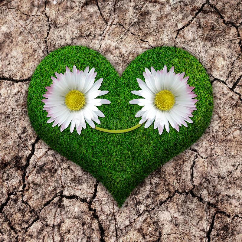 Grass smiling heart on cracked earth vector illustration