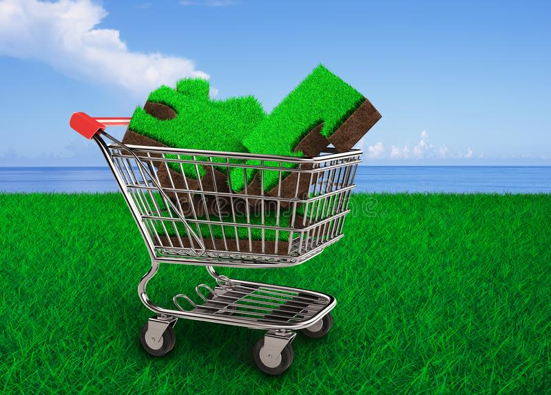 Grass and soil of puzzle pieces in shopping cart. Big jigsaw puzzles made out of green grass and soil texture in the shopping cart, with meadow and blue sky sea stock image