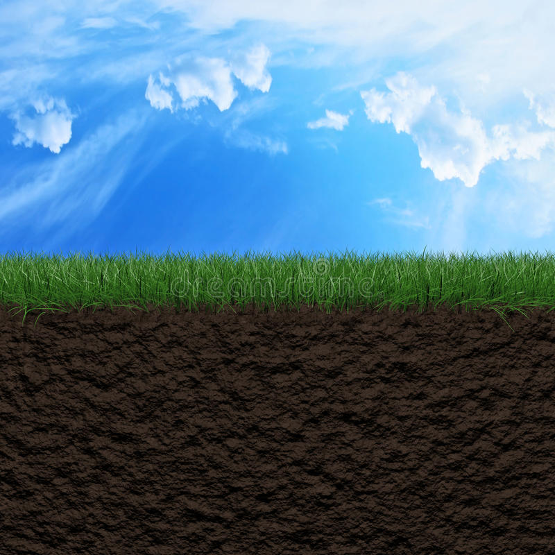 Grass, soil and sky background. Fresh green grass, soil and sky background 3d illustration royalty free illustration