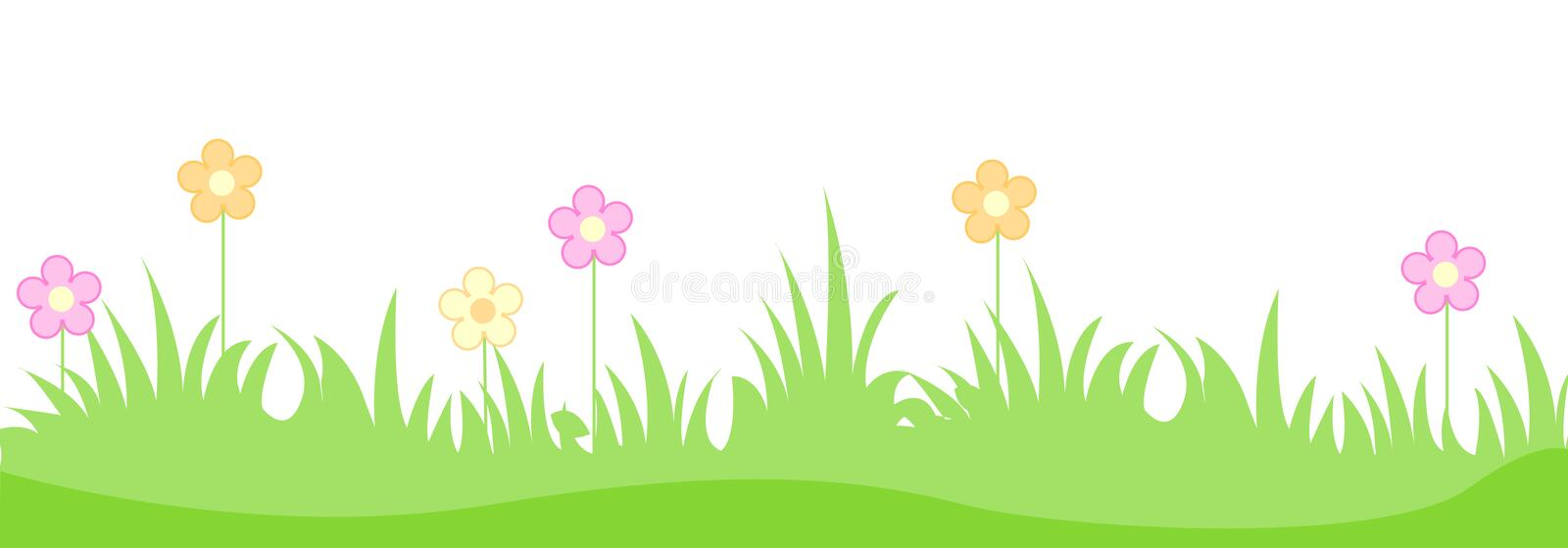 Grass with spring flowers. Green grass with cute spring flowers illustration isolated white background. Can use as web site header / Footer / banner
