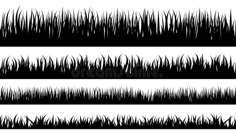 Grass stencil. Isolated greenery silhouettes. royalty free illustration