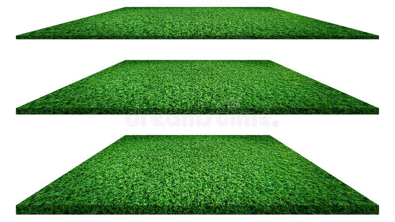 Grass texture isolated on white background for golf course, soccer field or sports concept design. Artificial green grass royalty free stock images