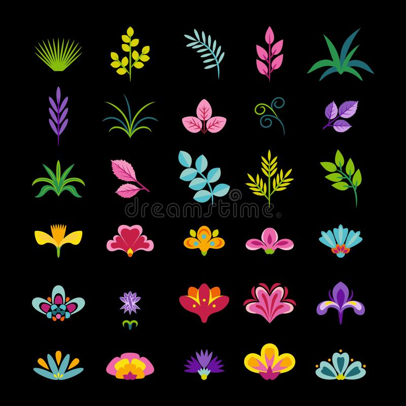 Grass, twigs, leaves and flowers isolated on black background. Set of botanical elements. Vector illustration. Of floral design elements in simple flat style vector illustration