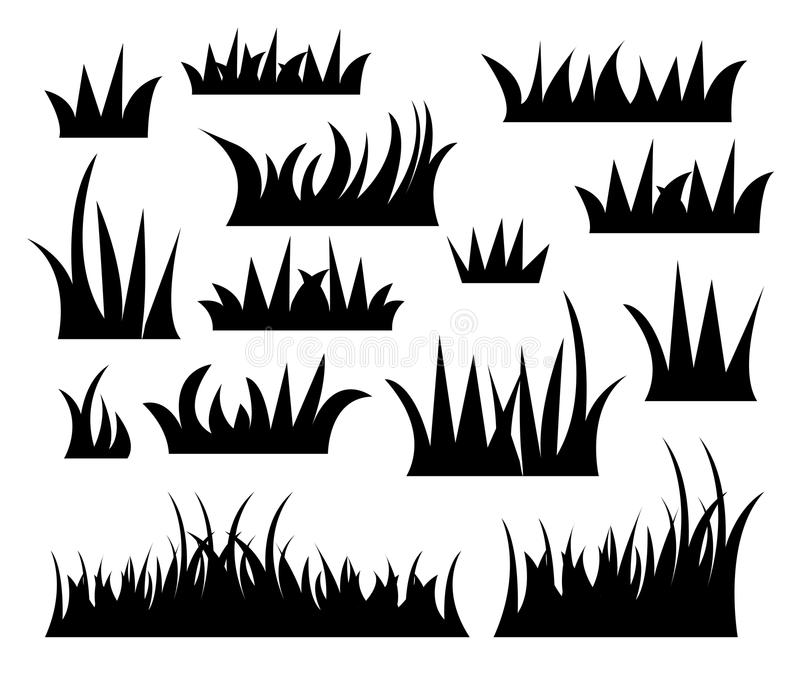 Grass Vector. Stock illustration Set of silhouette of grass on white background
