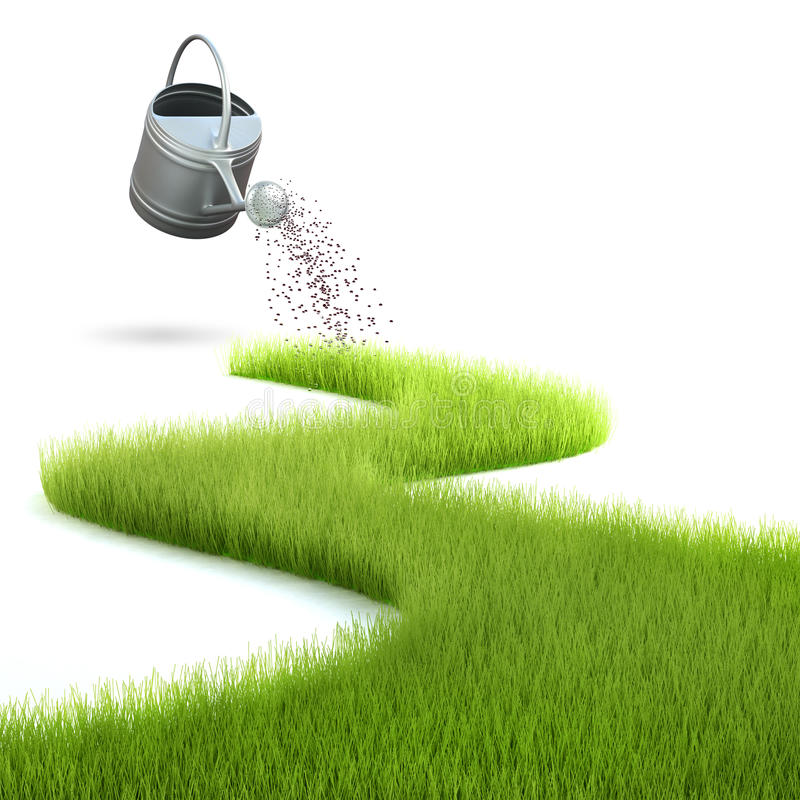 Download Grass and watering can stock illustration. Image of background - 18559770