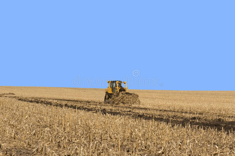 Grass Waterway Construction. Example of grass waterway construction on Iowa farm cropland royalty free stock photos