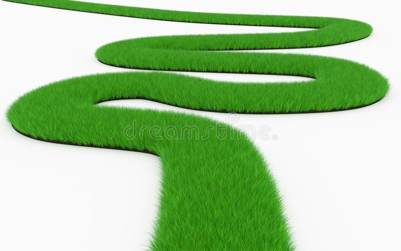 Grass winding road. Isolated on white stock illustration