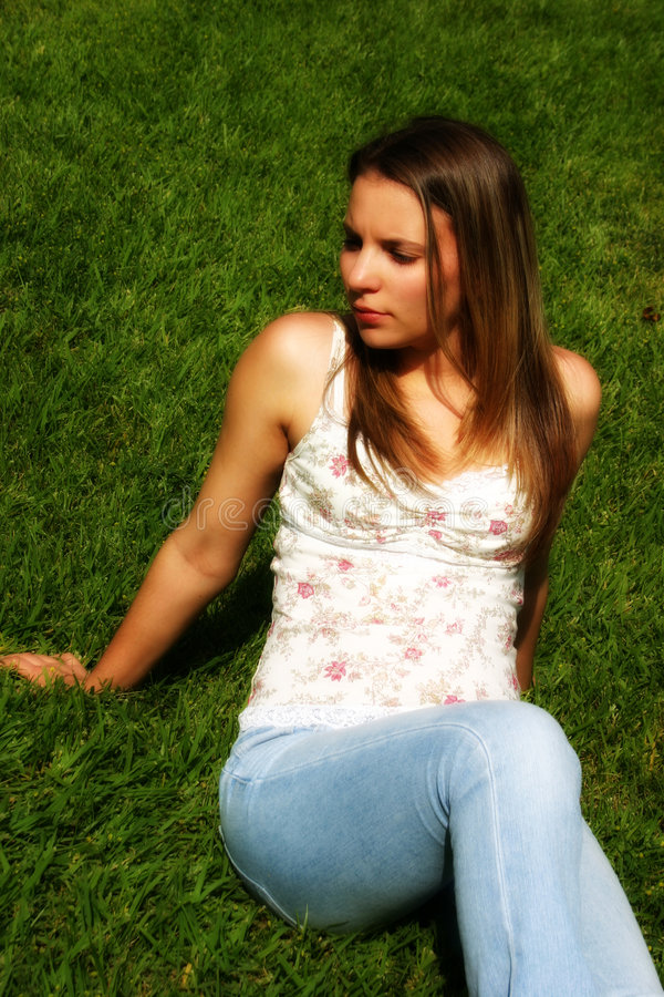 Download Grass Woman stock image. Image of young, people, woman, sitting - 7099