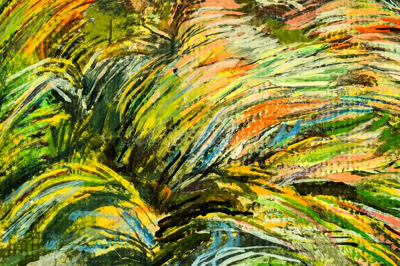 Grass in yellow green tone. Art oil on canvas background. stock illustration