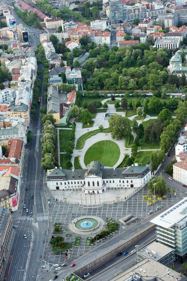 Grassalkovich宫殿鸟瞰图在布拉索夫,斯洛伐克 免版税库存照片