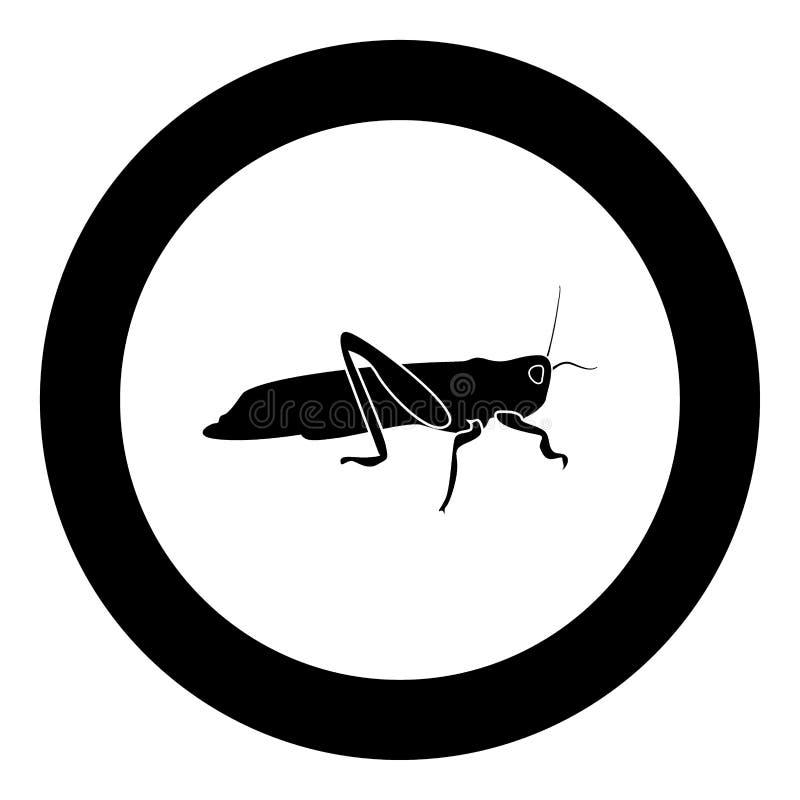 Grasshoper icon black color in circle. Vector illustration isolated vector illustration