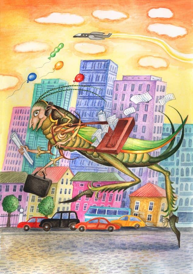 Download Grasshopper - businessmen stock illustration. Image of painting - 9978712