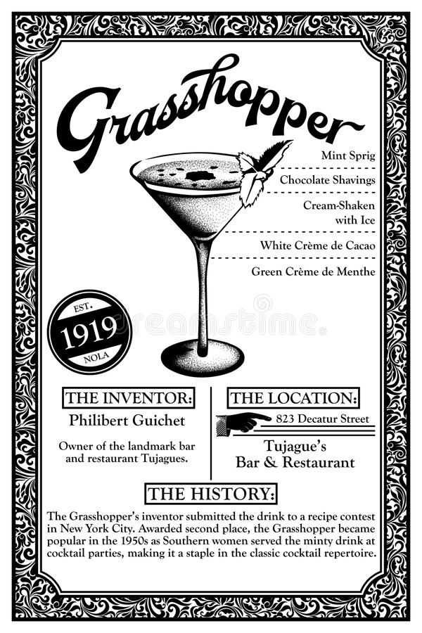 History of New Orleans Libations or Cocktails. Grasshopper mint flavored new orleans cocktail history infographic vector illustration