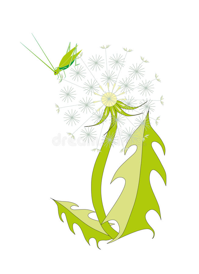 Grasshopper sits on dandelion. Cartoon objects stock illustration