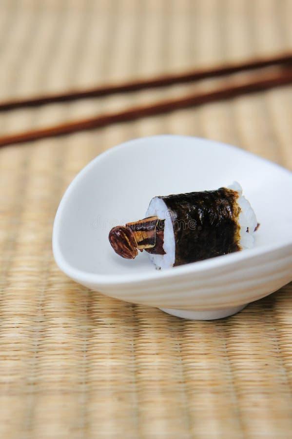 Grasshopper Sushi Roll stock photo