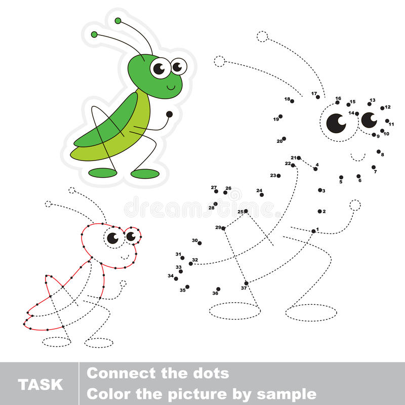 Grasshopper. Vector numbers game. Grasshopper in to be traced by numbers. Vector visual game for children stock illustration