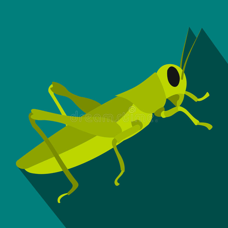 Grasshoppers icon in flat style. On a blue background vector illustration