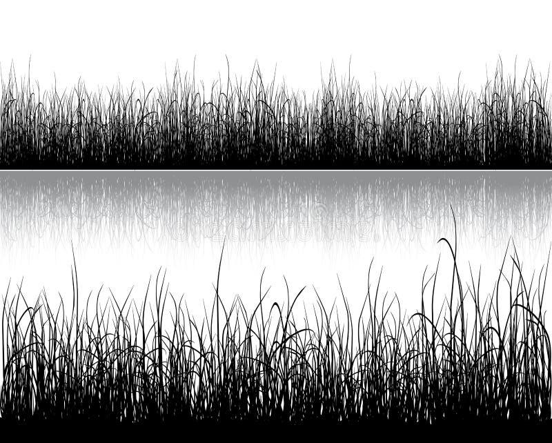 Grassilhouet op wit stock illustratie