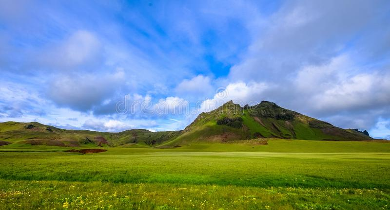 Grassy field with mountains in the distance under a cloudy sky. A grassy field with mountains in the distance under a cloudy sky royalty free stock images