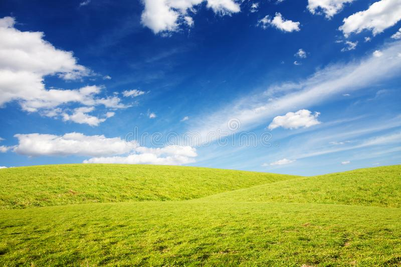 Grassy hills under amazing sky background.  stock photography