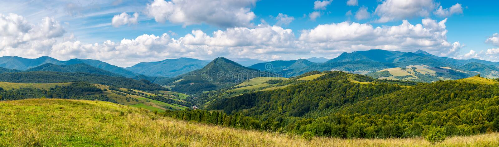Grassy meadows and forested hills in early autumn. Panorama of a beautiful landscape. grassy meadows and forested hills in early autumn. mountain ridge in the stock photos