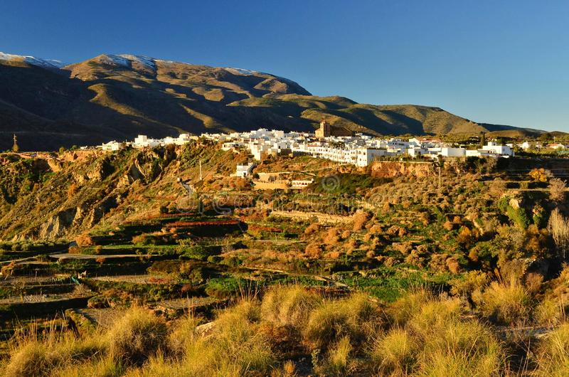 Grassy terraces and village in Almeria Spain stock images