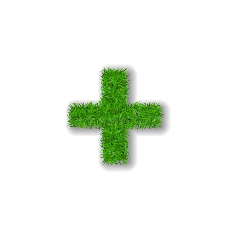 Grassymbool plus Groen plus, geïsoleerd op witte achtergrond Groen gras 3D plus, symbool van verse aard, installatiegazon stock illustratie