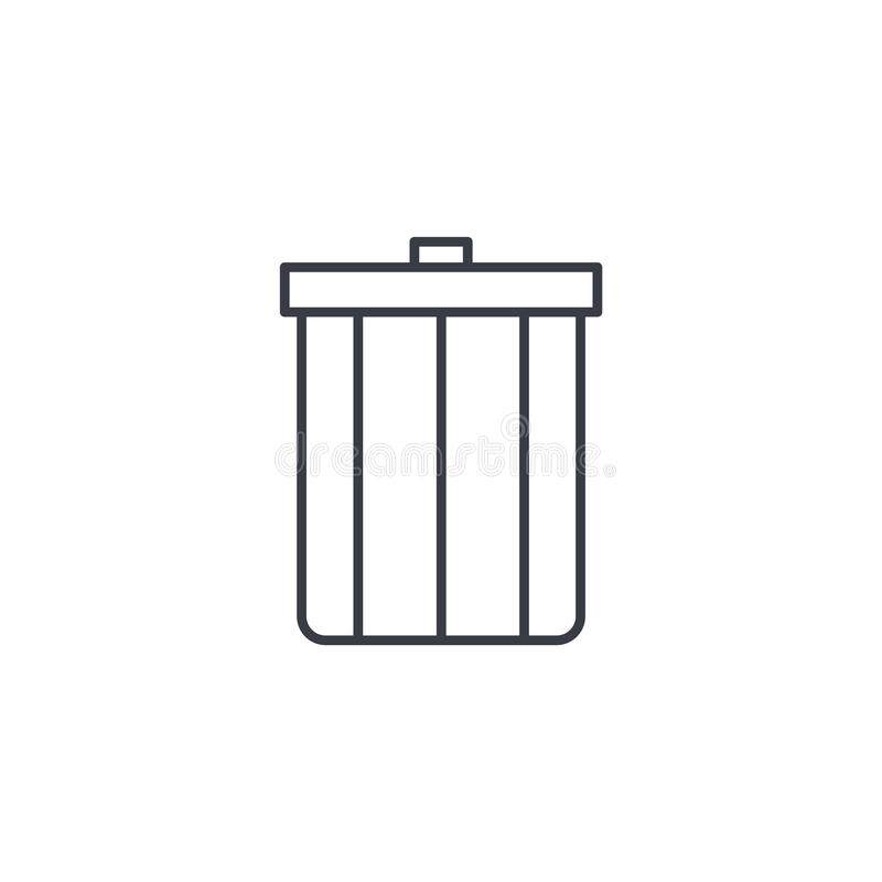 Grat, śmieci cienka kreskowa ikona Liniowy wektorowy symbol royalty ilustracja