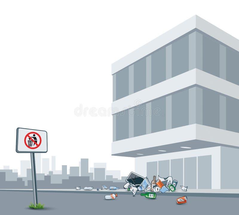 Grat Śmieci miasto ulicę royalty ilustracja