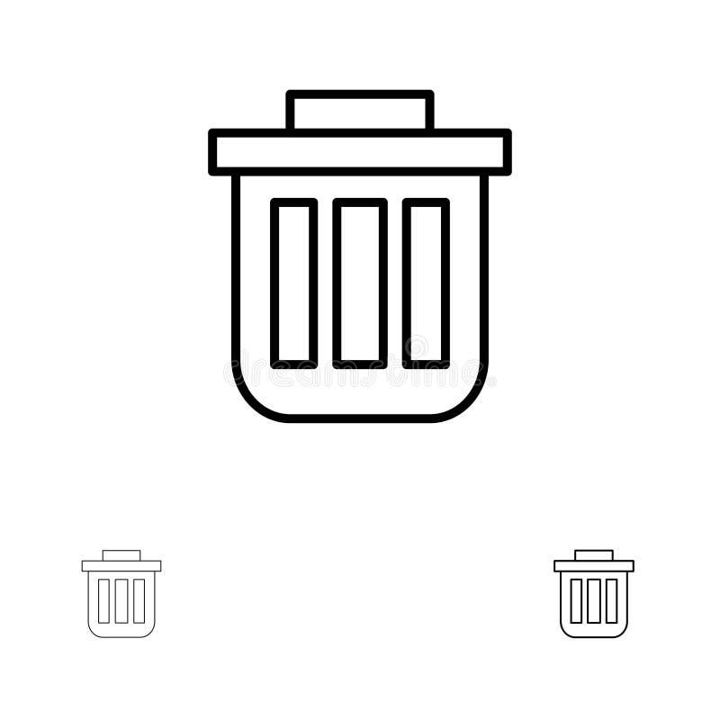Grat, kosz, kosz, Może ustawiać, zbiornik, kosz na śmiecie, Biurowa czerni linii ikona, Śmiała i cienka royalty ilustracja