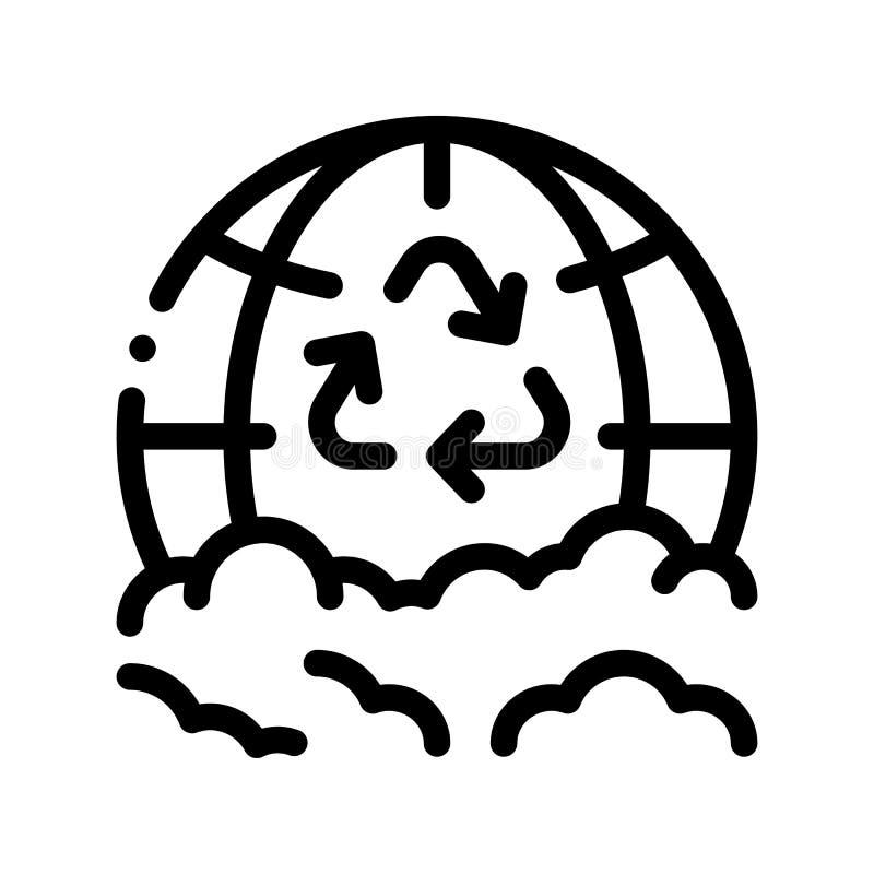 Grat Przetwarza planeta Ziemskiego wektoru Cienką Kreskową ikonę ilustracja wektor