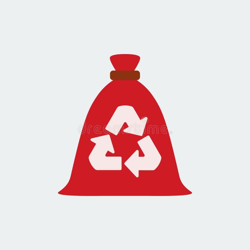 Grat torba, śmieci przetwarzać i spożytkowanie ikona, Płaski projekt wektor ilustracja wektor