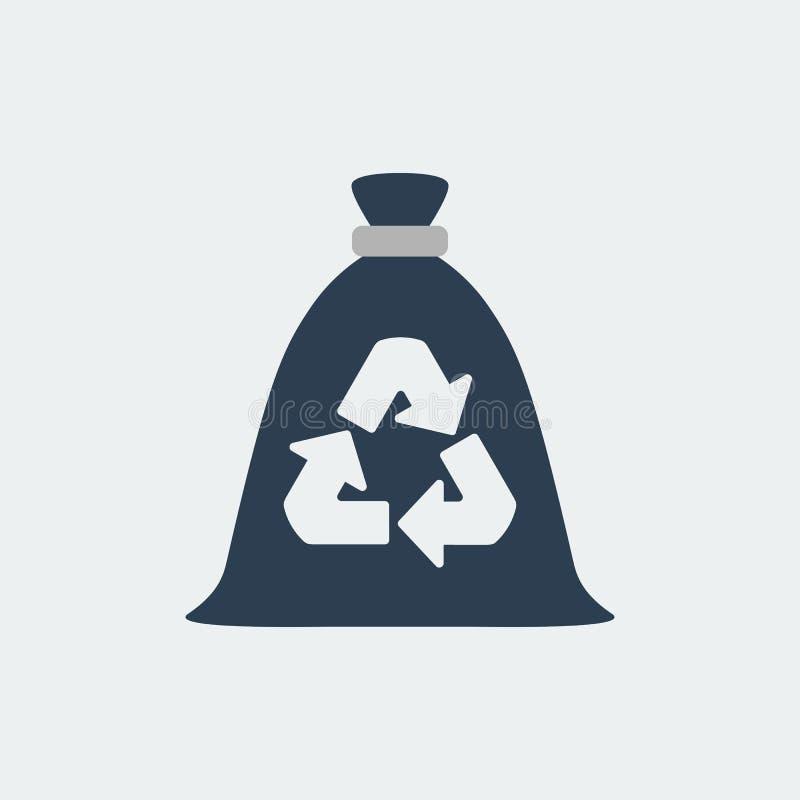 Grat torba, śmieci przetwarzać i spożytkowanie ikona, również zwrócić corel ilustracji wektora royalty ilustracja