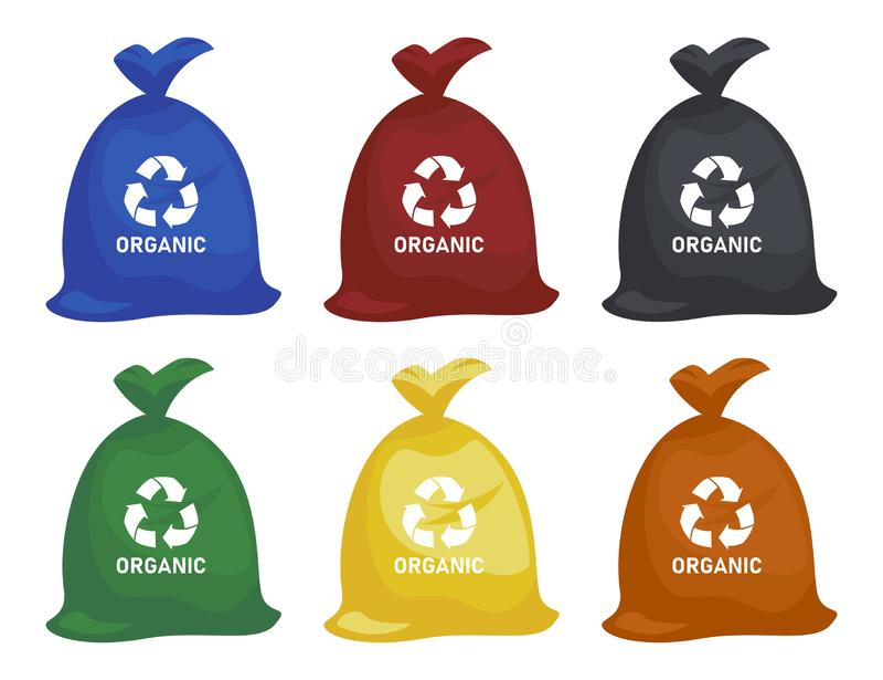 Grat w śmieci pakunkach z ułożonymi śmieciarskimi wektorowymi ikonami Przetwarzać śmieciarską separacyjną kolekcję i przetwarzają zdjęcie stock