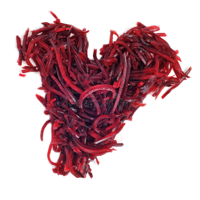 Grated Beet Heart Royalty Free Stock Photos