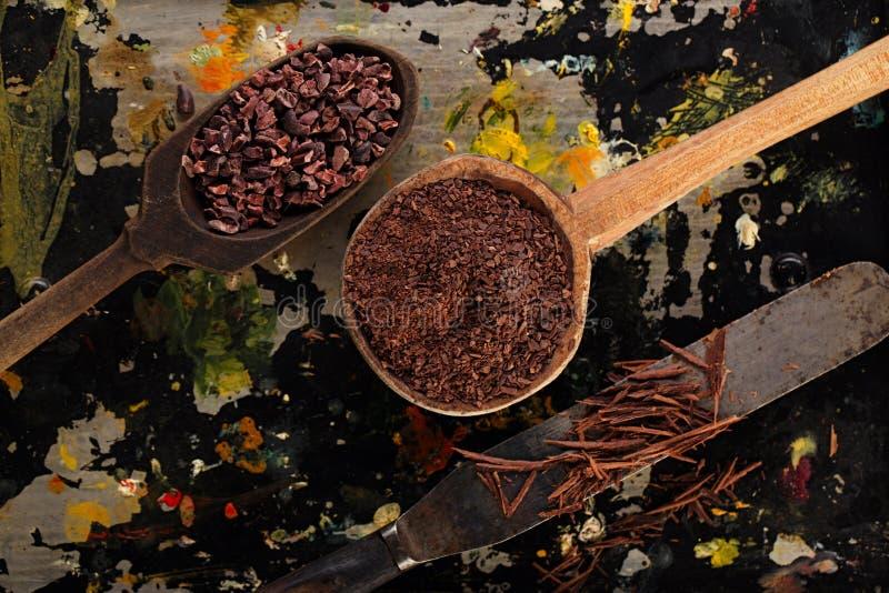 Grated choklad, rå kakaostift, strimlad choklad och kakao b royaltyfri fotografi