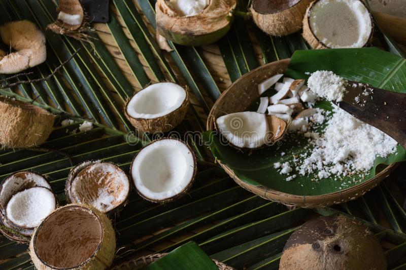 Grated Coconut. White grated coconut freshly for homemade cooking stock photos