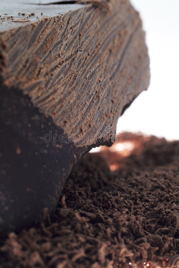 Grated and solid chocolate royalty free stock photos