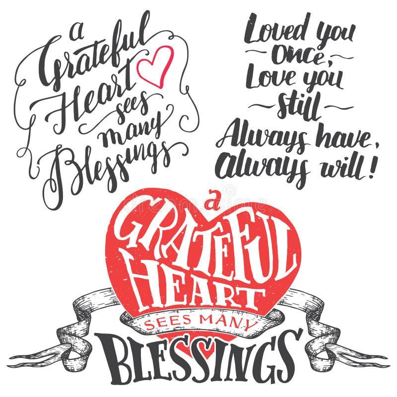 Grateful heart hand lettering set vector illustration