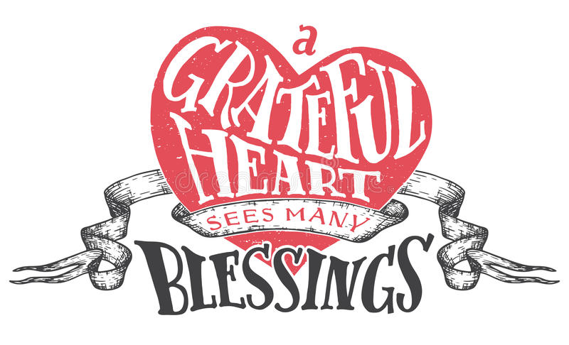 A Grateful Heart Sees Many Blessings. Gratitude Hand Lettering Quote With  Heart Shape Background. Handwritten Thankfulness On White Background