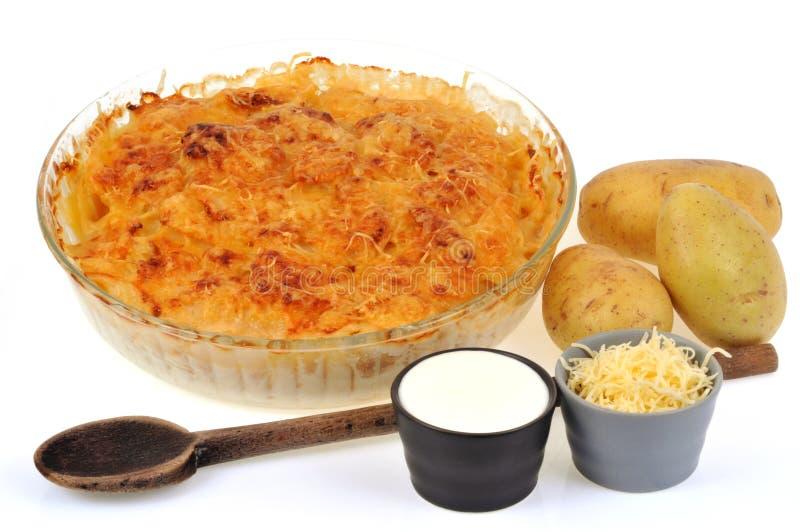 Gratin πατατών σε ένα πιάτο με τα συστατικά σε ένα άσπρο υπόβαθρο στοκ εικόνες με δικαίωμα ελεύθερης χρήσης