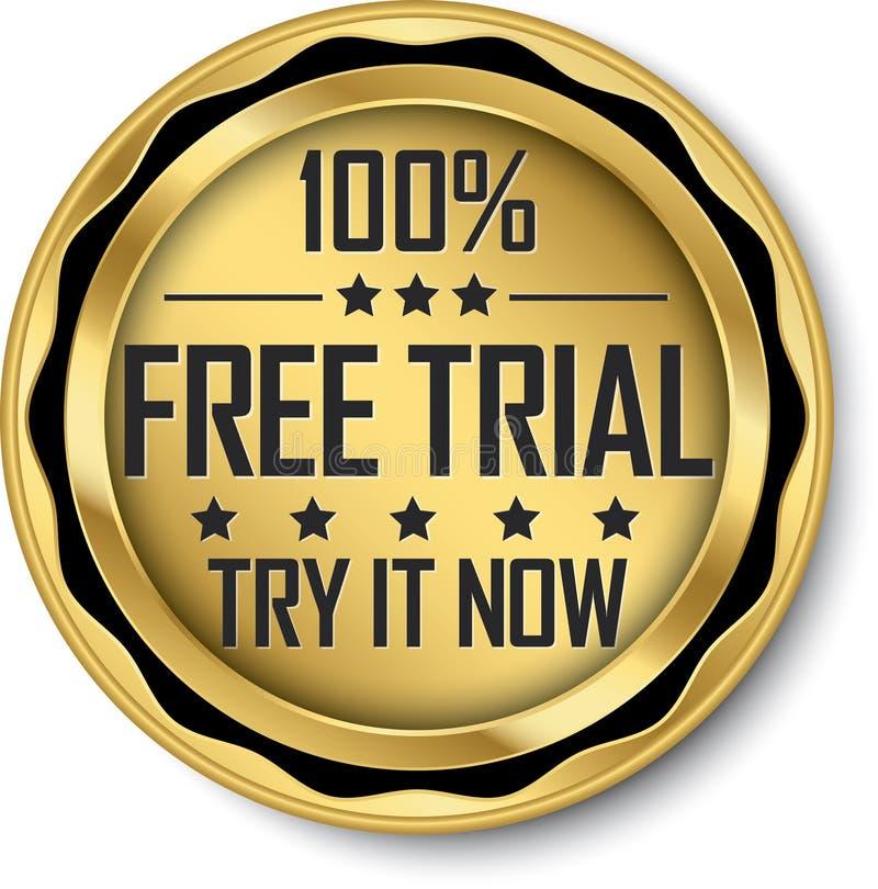 100% gratis versie gouden etiket, vectorillustratie vector illustratie